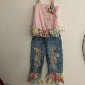 Little Mass Pink Tank and Jeans Set